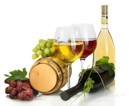 barrel, bottles and glasses of wine and ripe grapes isolated on white Stock Photo - 14169734
