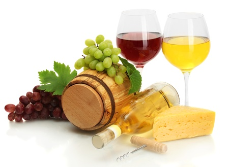 barrel, bottle and glasses of wine, cheese and ripe grapes isolated on white Stock Photo - 14169745