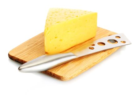 tasty cheese and knife on wooden cutting board isolated on white photo