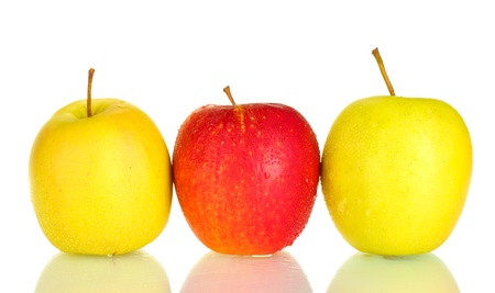 ripened: Fresh apples isolated on white Stock Photo