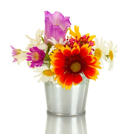beautiful bouquet of bright  wildflowers in blue metal bucket, isolated on white Stock Photo - 14161840