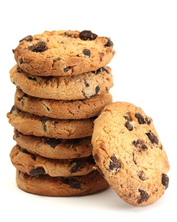 Chocolate chips cookies isolated on white  photo