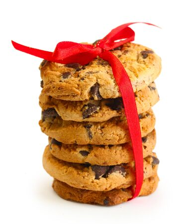 Chocolate chips cookies with red ribbon isolated on white Stock Photo - 14170379