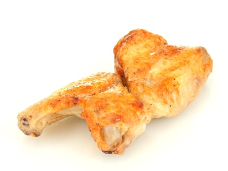 roasted chicken wings isolated on white photo