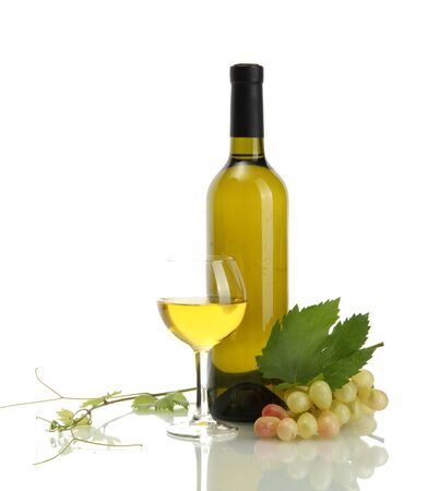 bottle, glass of wine and ripe grapes isolated on white photo