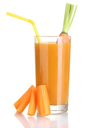glass of carrot juice and fresh carrot isolated on white photo