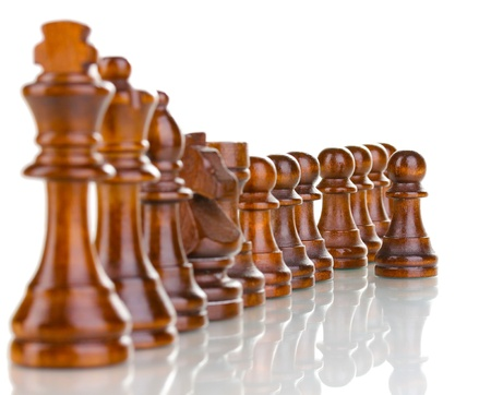 Chess pieces isolated on white photo