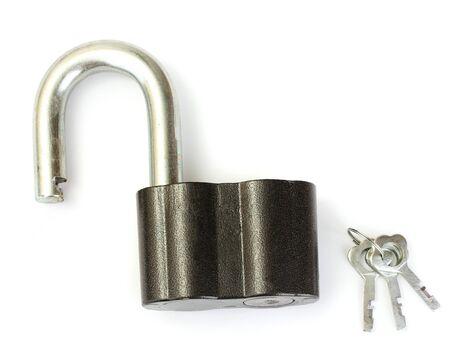 tarnish: old padlock with keys isolated on white background