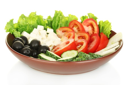 tasty greek salad isolated on white photo