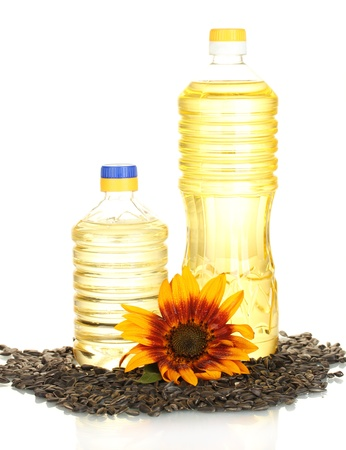 sunflower oil in a plastic bottles isolated on white background photo