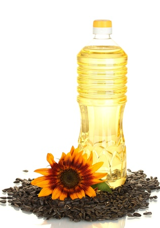 sunflower oil in a plastic bottle isolated on white background photo