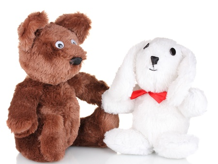 Toy bear and bunny isolated on white photo