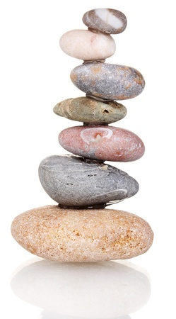 Stack of balanced stones isolated on white Stock Photo - 14169711