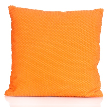 Bright color pillow isolated on white photo