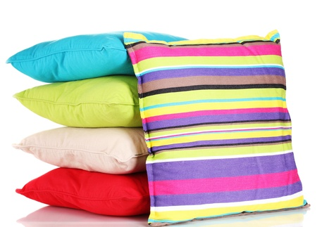 Bright color pillows isolated on white Stock Photo - 14157059