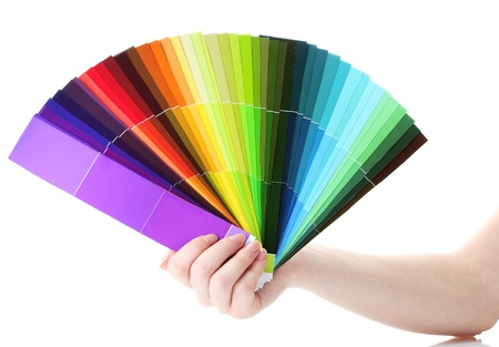 hand holding bright palette of colors isolated on white Stock Photo - 14171097