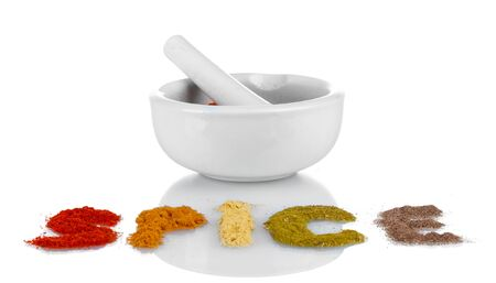 Composition of white mortar with spice isolated on white Stock Photo - 14161372