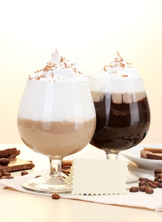 glasses of coffee cocktail on wooden table Stock Photo - 14169687