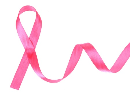 Pink breast cancer ribbon isolated on white Stock Photo - 14161506