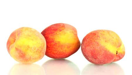 ripe peaches isolated on white background photo