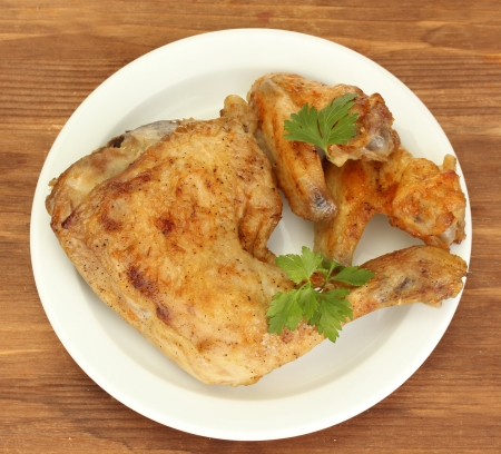 chicken leg: roasted chicken wings and leg with parsley in the plate on wooden background close-up