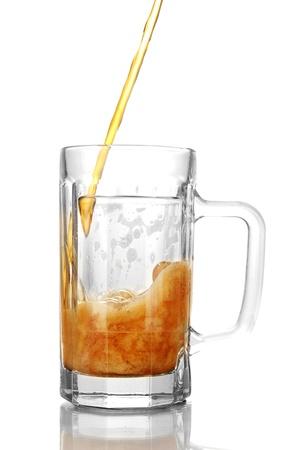 glass of kvass on white background Stock Photo - 14224715