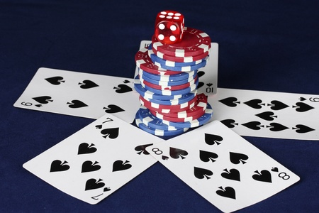 straight flush: straight flush on the blue poker table with poker chips and dice