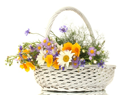 bunch up: beautiful bouquet of bright  wildflowers in basket, isolated on white