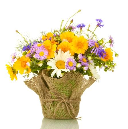 bouquet de fleur: beau bouquet de fleurs sauvages lumineuses dans pot de fleurs, isolé sur blanc Banque d'images