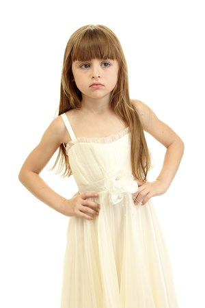 grade schooler: Portrait of sweet little girl isolated on white