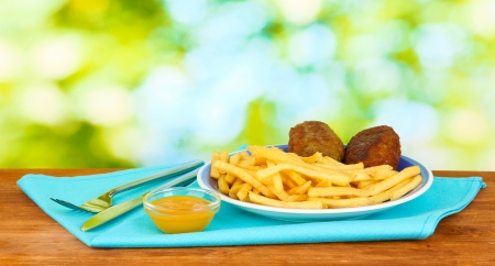 Potatoes fries with burgers on the plate on green background close-up photo