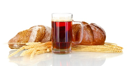 glass of kvass with bread isolated on white background photo