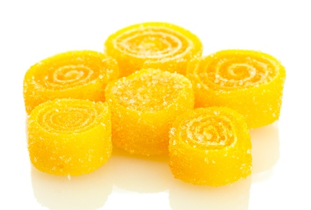 yellow jelly candies isolated on white  photo