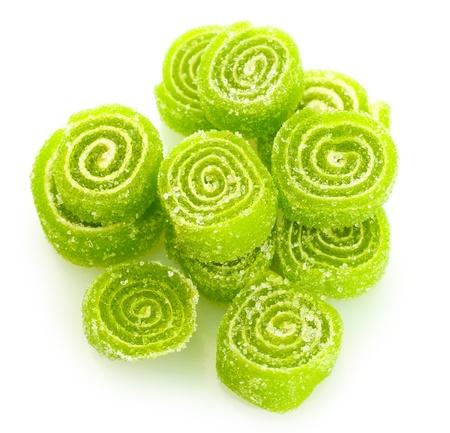 젤리: 흰색에 고립 된 녹색 젤리 사탕