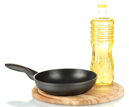 fryingpan: Pan with bottle of oil isolated on white