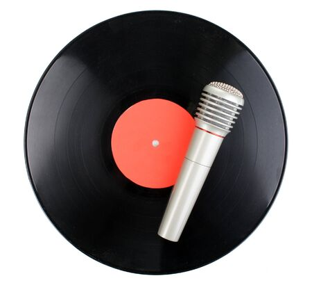 Black vinyl record and microphone isolated on white photo