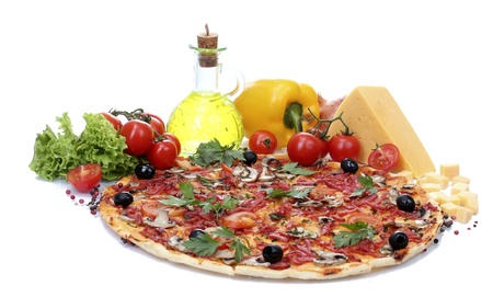topping: delicious pizza and vegetables isolated on white
