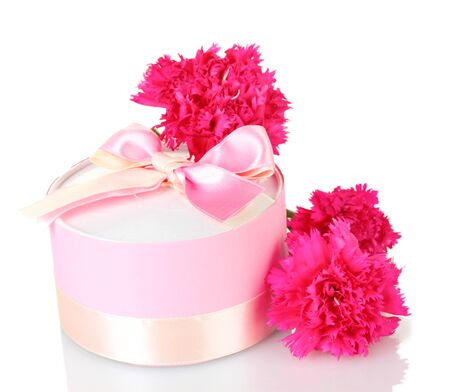 valentinas: beautirul pink gift and peony flowers isolated on white