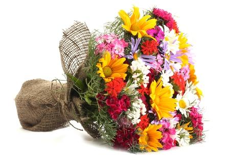 mooi boeket van heldere wilde bloemen, geïsoleerd op wit Stockfoto