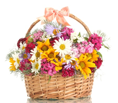 bunch of flowers: beautiful bouquet of bright  wildflowers in basket, isolated on white
