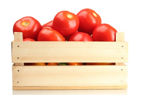 wooden box: Ripe red tomatoes in wooden box isolated on white Stock Photo