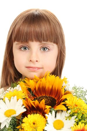 Portrait of beautiful little girl with flowers isolated on white photo