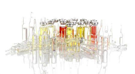 Tablets and ampoules isolated on white photo