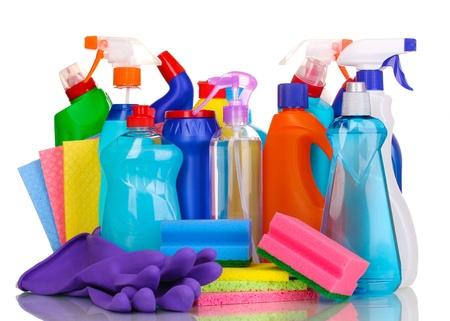 manos limpias: Art�culos de limpieza aislados en blanco