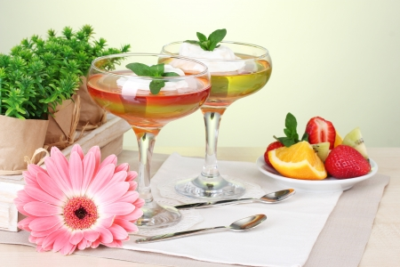 fruit jelly in glasses and fruits on table in cafe Stock Photo - 14454953