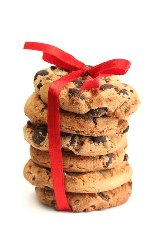 Chocolate chips cookies with red ribbon isolated on white Stock Photo - 14457269