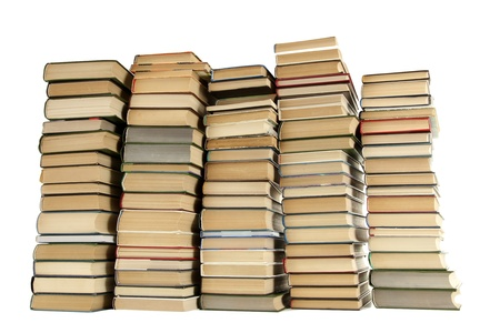 old books isolated on white photo