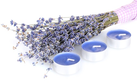 Lavender flowers and candles isolated on white Stock Photo - 14457465