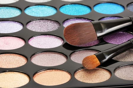 shadow kit with brushes for make-up Stock Photo - 14457777