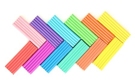Children bright plasticine isolated on white Stock Photo - 14457319
